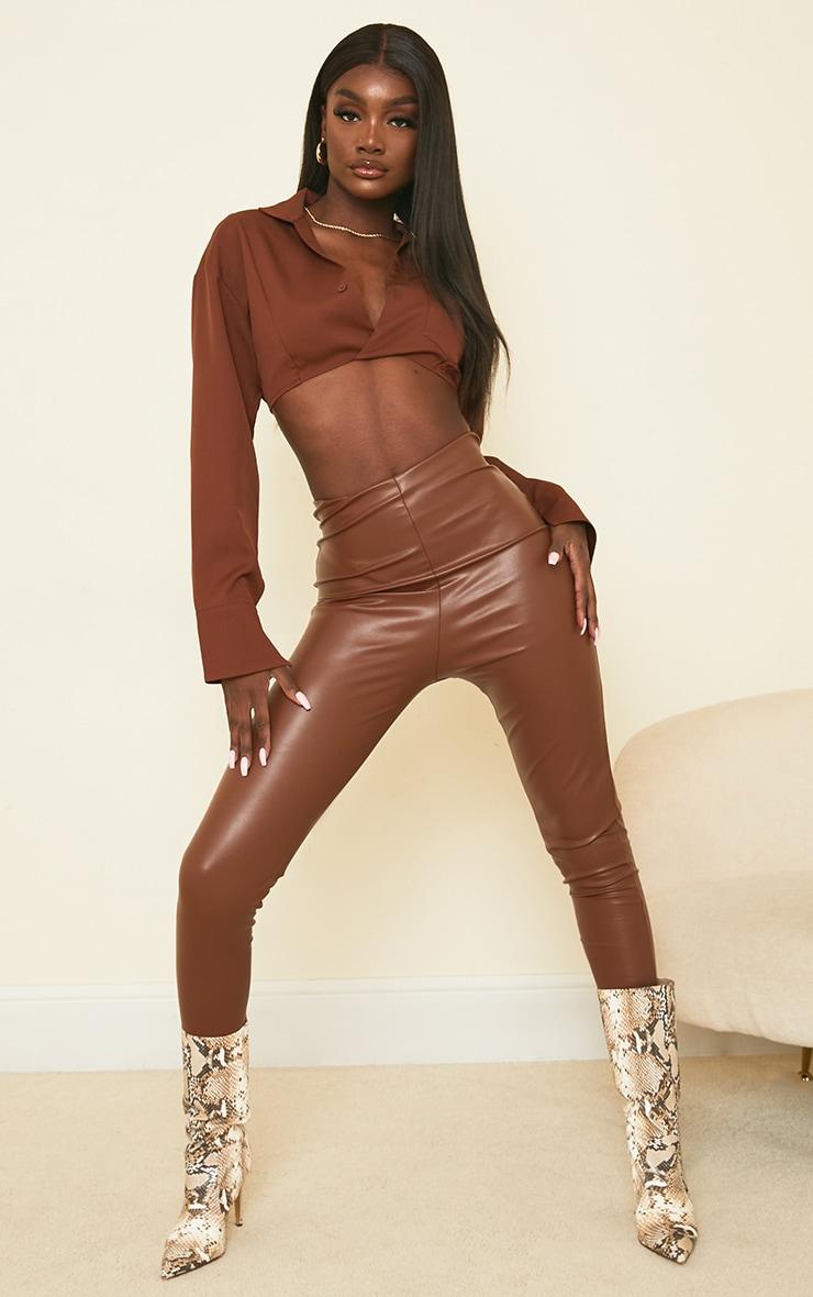 Tall Tan Basic Faux Leather High Waist Leggings 1