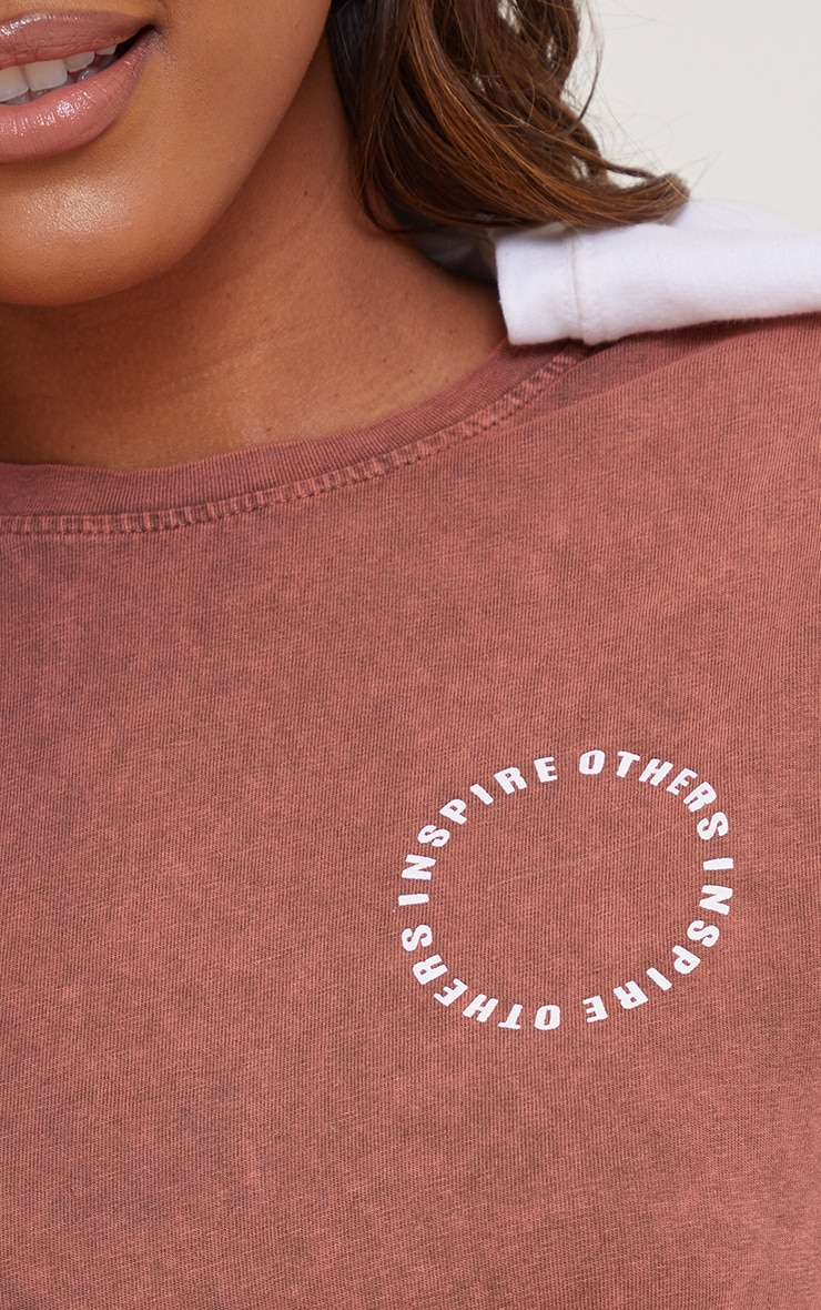 Chocolate Inspire Others Shoulder Pad Printed Washed T Shirt 4