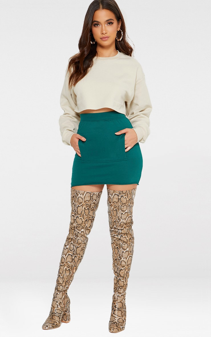Emerald Green Sweat Pocket Mini Skirt 5