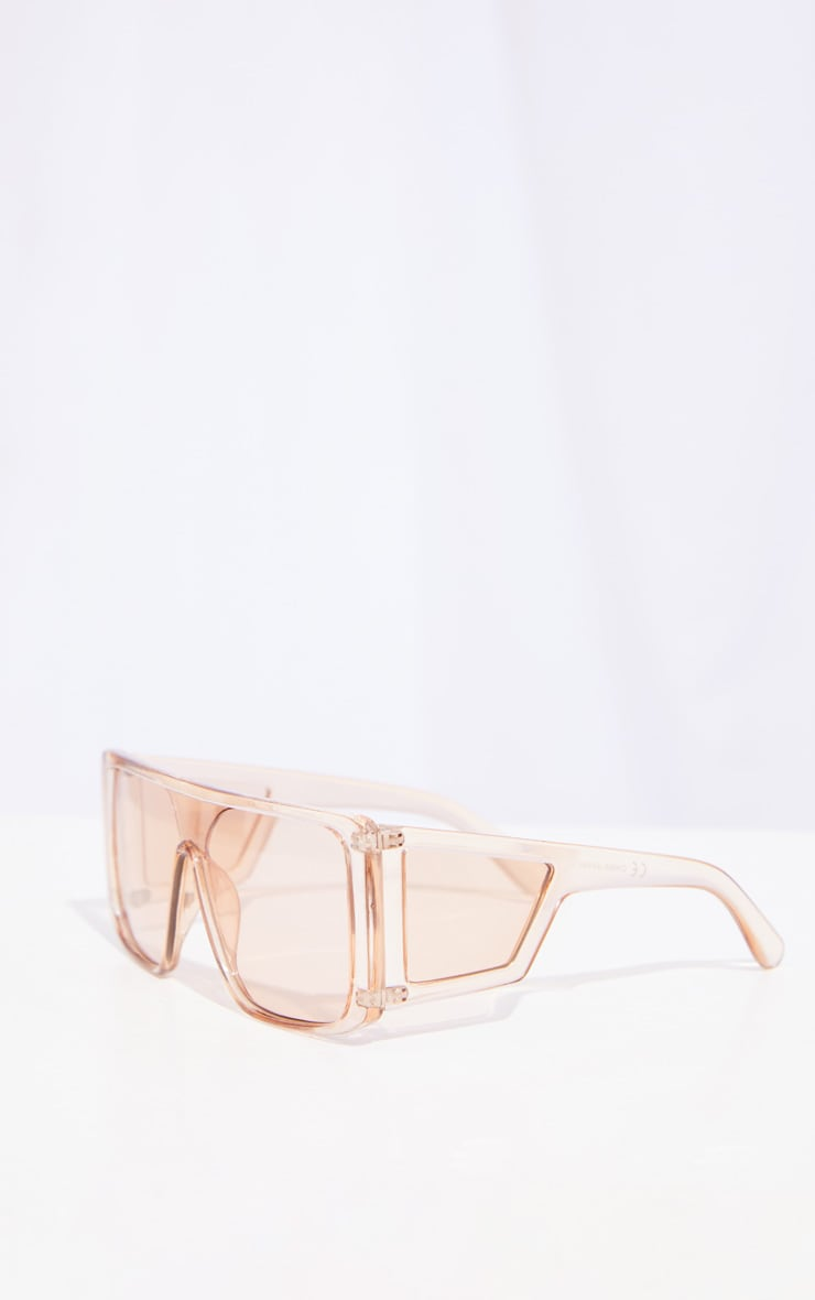 Brown Oversized Triple Lens Squareframe Sunglasses 3