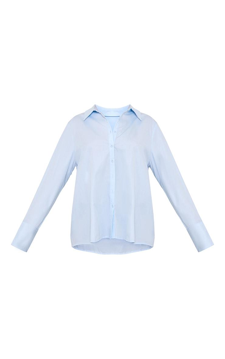 Blue Oversized Sheer Cuff Shirt 5