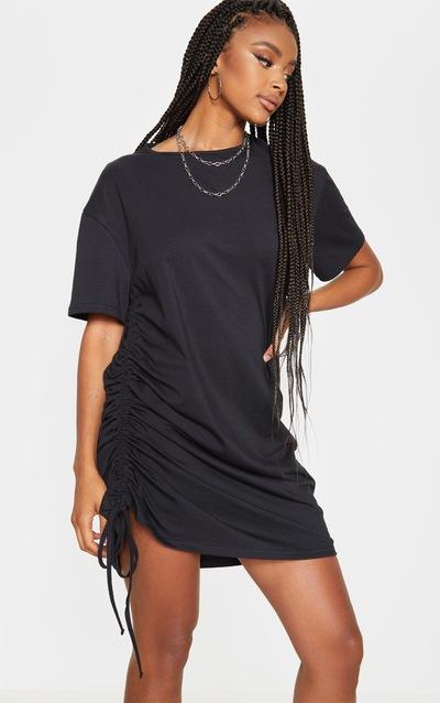 Black Ruched Side T Shirt Dress