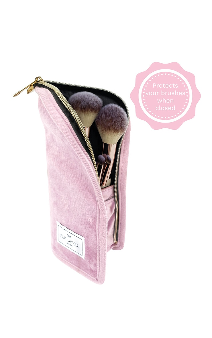 The Flat Lay Co Standing Brush Case Pink Velvet 3