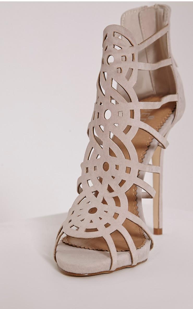 Shona Nude Faux Suede Laser Cut Heels 6