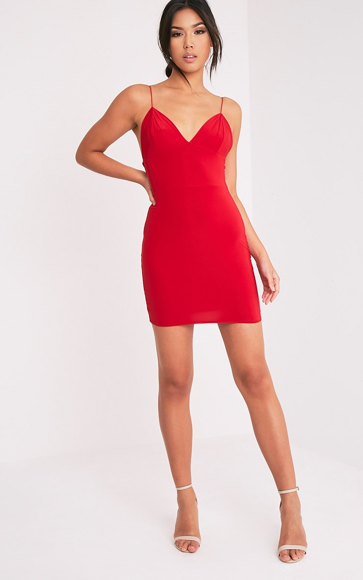 Ayishah Red Slinky Strappy Plunge Bodycon Dress 1