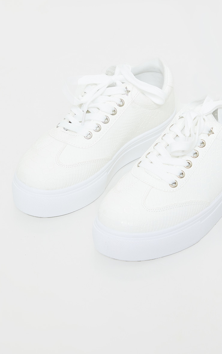 White Croc Lace Up Flatform Trainers 4