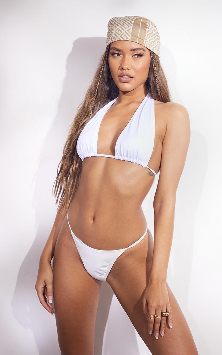 White Strappy Halter Neck Bikini Top 1