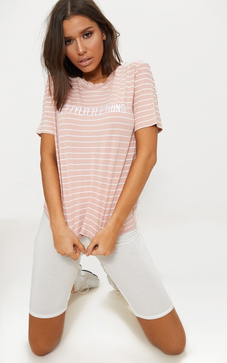 PRETTYLITTLETHING Baby Pink Embroidered Stripe T Shirt  4