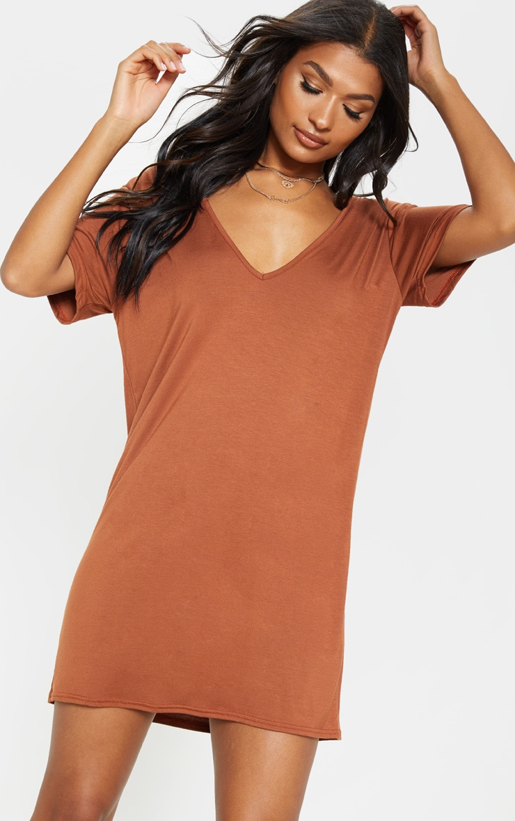 Tan Basic V Neck T Shirt Dress 1