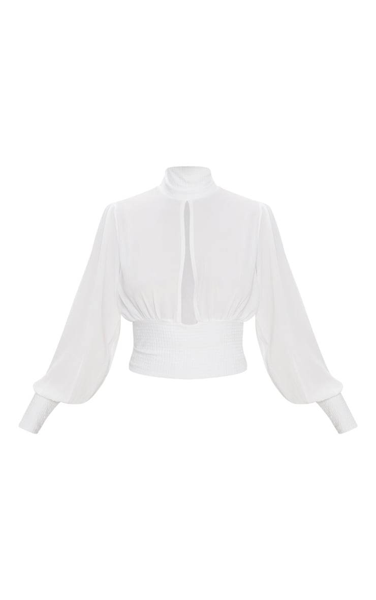 White Crepe Rib Waist and Cuff Blouse 3
