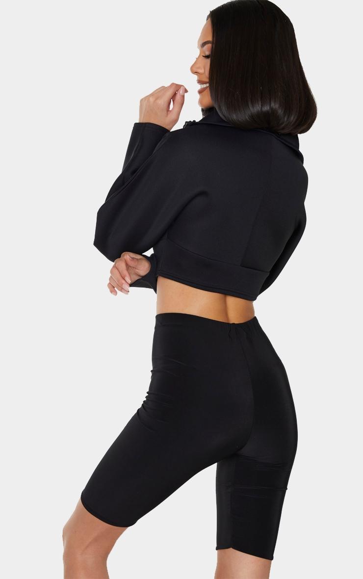 Black Scuba Zip Up Long Sleeve Sweater 2