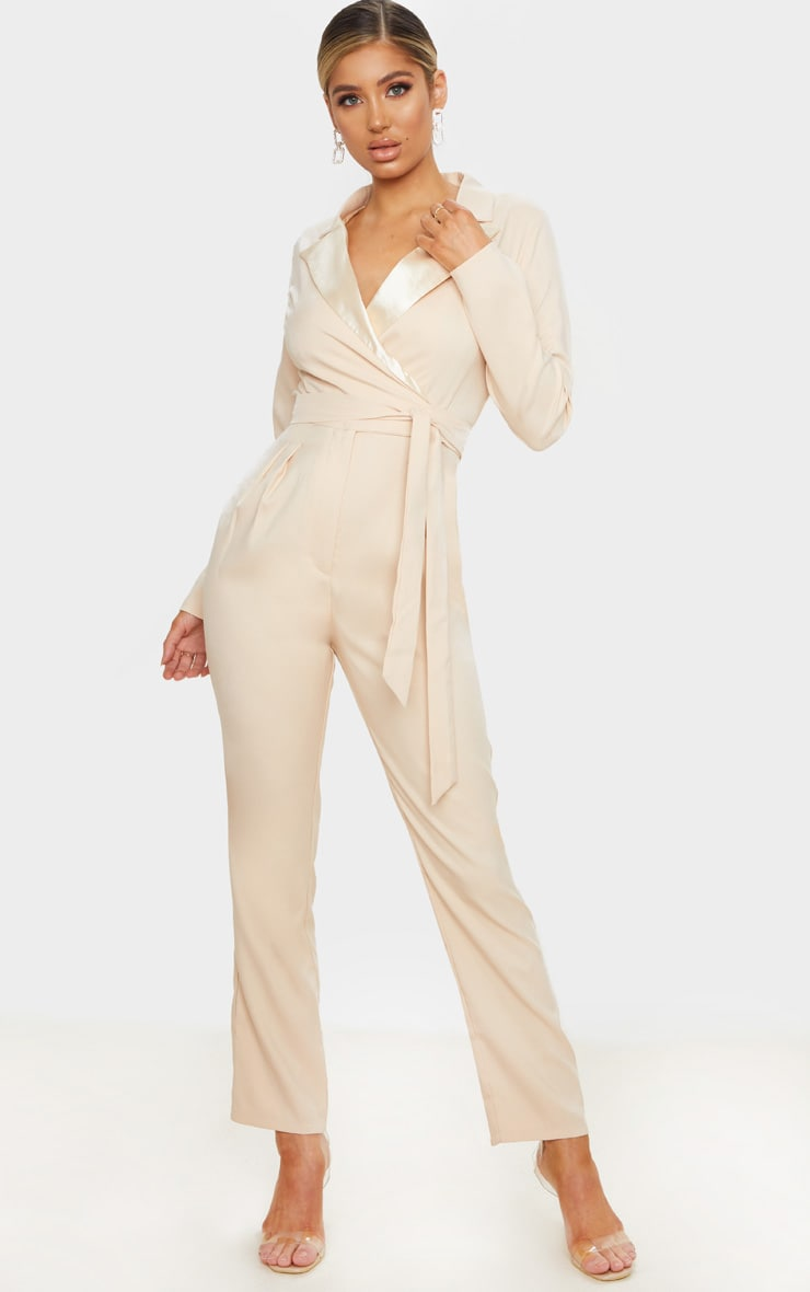 Nude Satin Lapel Tie Detail Jumpsuit 1