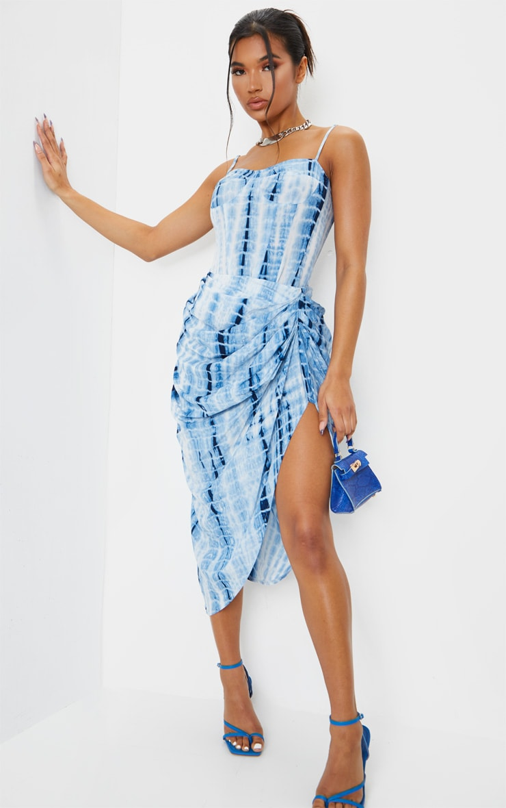 Blue Tie Dye Ruched Side Midi Skirt 1