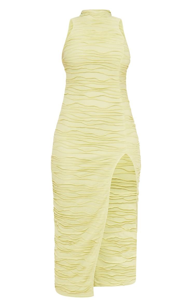 Green Exposed Seam Detail High Neck Sleeveless Midaxi Dress 5