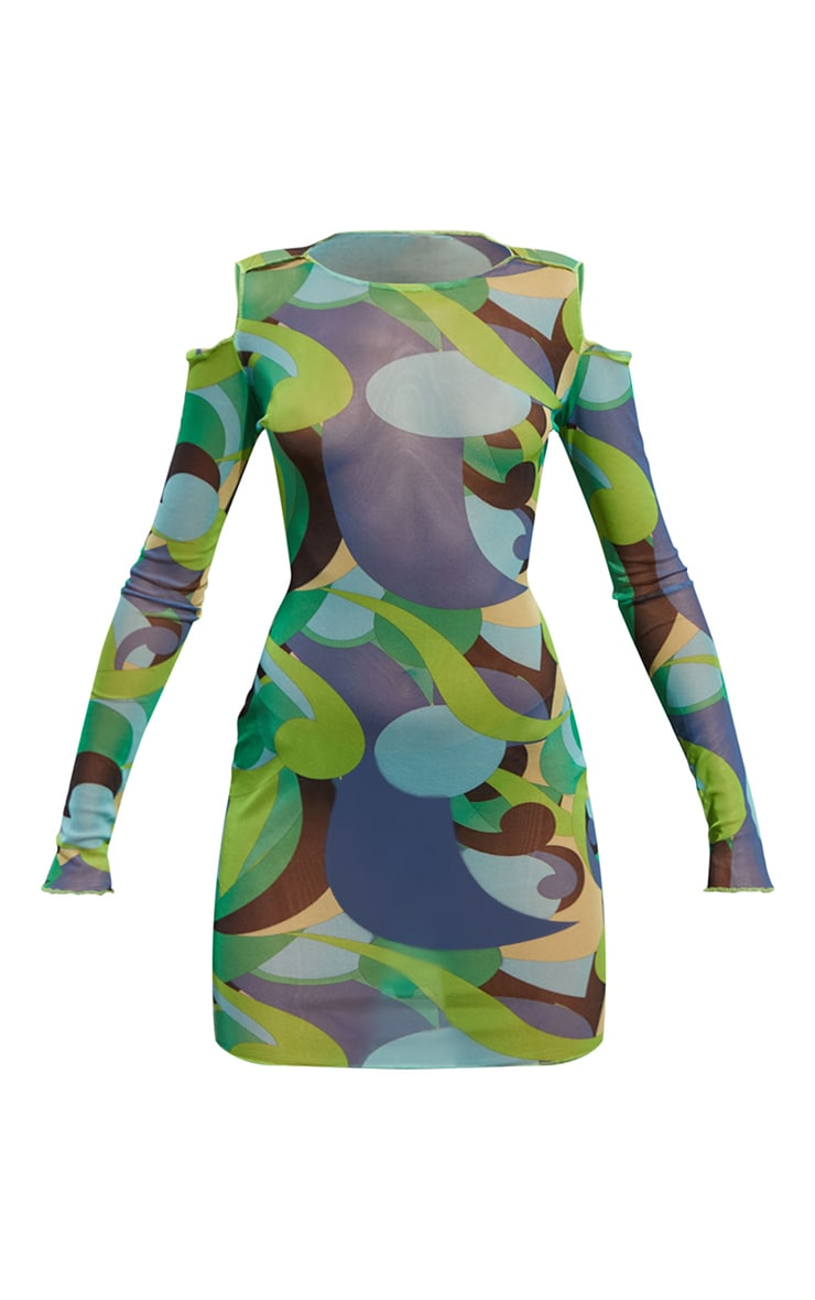 Green Abstract Print Mesh Lettuce Edge Cold Shoulder Bodycon Dress 5
