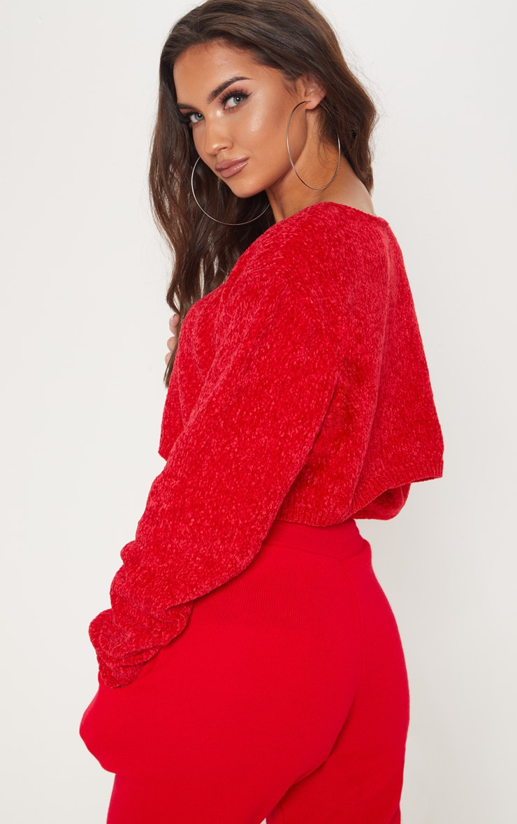 Red Chenille Cropped Knitted Jumper  2