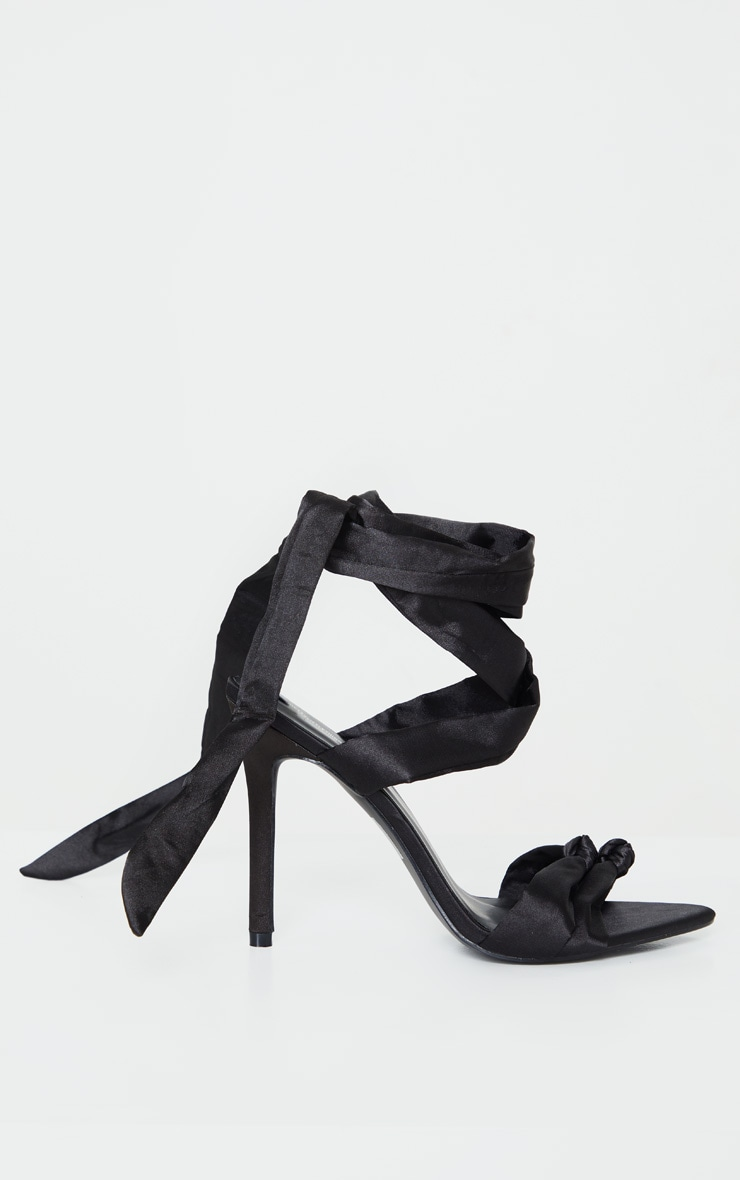Black Knot Tie Ankle Strappy Point Toe Heeled Sandal 5