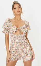 Multi Floral Print Shirred Waist Tie Bust Playsuit 1