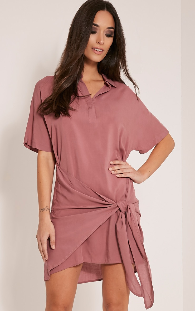 Chessca Rose Tie Front Shirt Dress 1