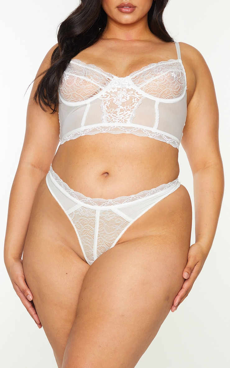 Plus White Lace Mesh Thong 1