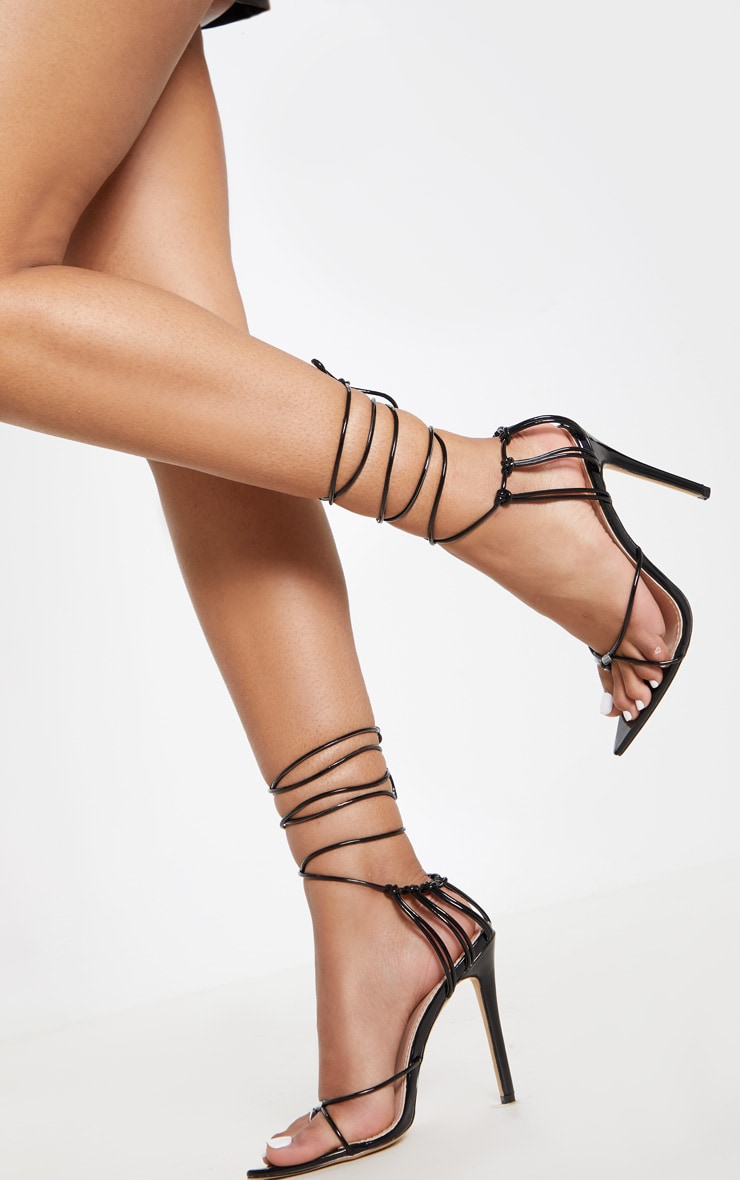 Black Caged Heel Point Toe Sandal 1
