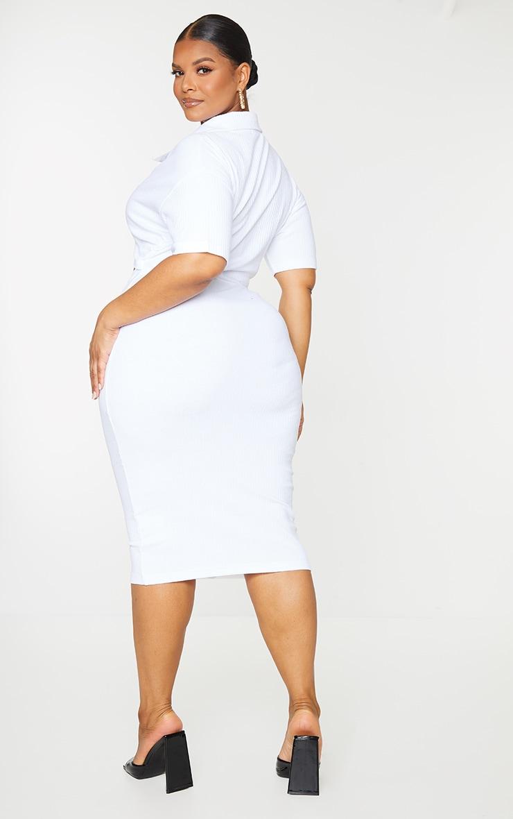 Plus White Thick Rib Cut Out Midi Dress 2