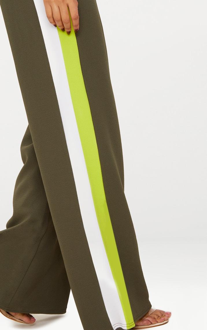 Khaki Contrast Stripe Wide Leg Trousers 5