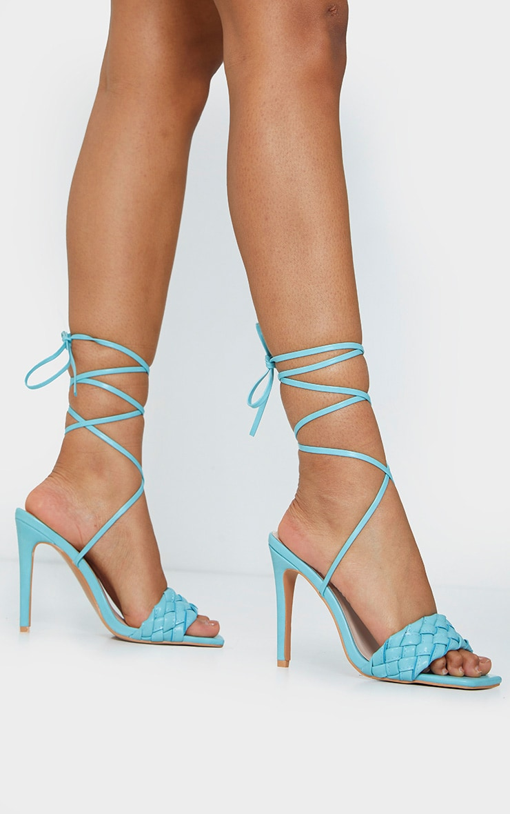 Blue Square Front Plated Lace Up High Heels 2
