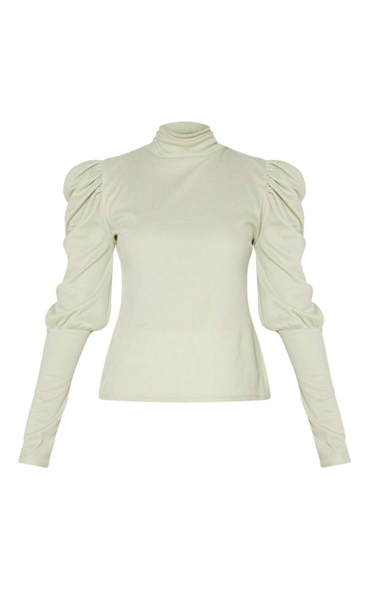 Mint Rib Puff Sleeve Long Top 5