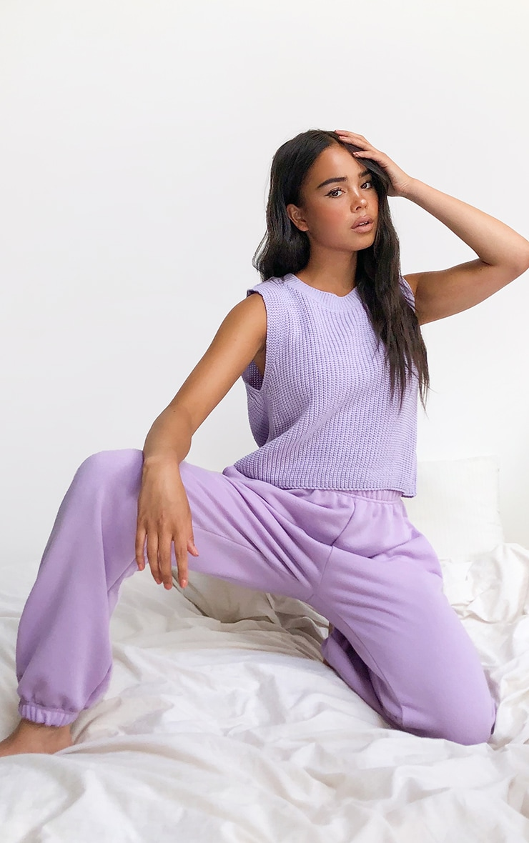 Lilac Sleeveless Slouchy Knitted Vest 1