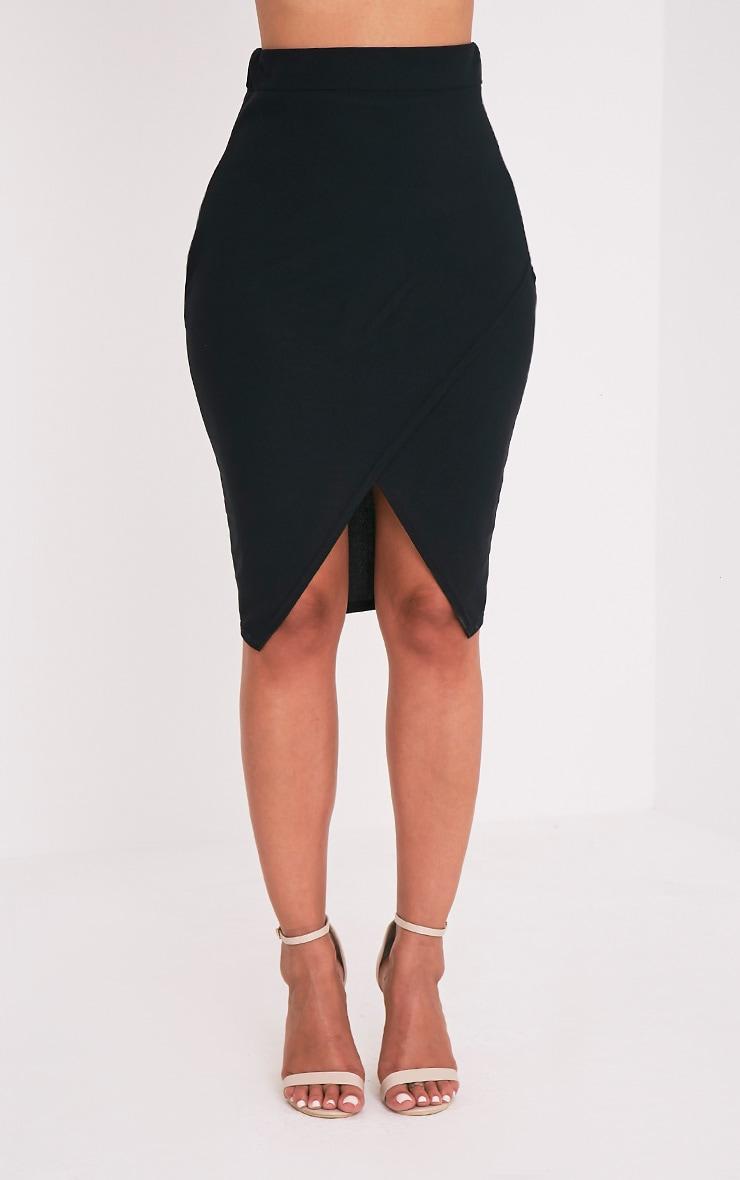 Aislynn Black Wrap Midi Skirt 2
