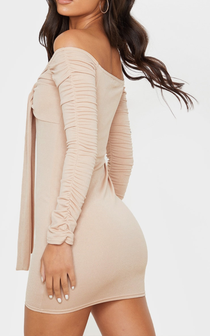 Nude Ruched Arm Tie Front Bodycon Dress 5