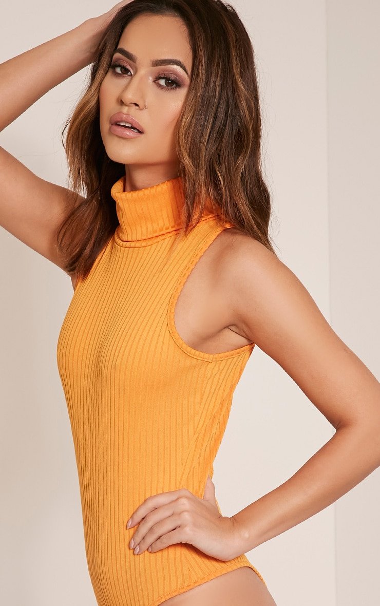 Lydia Bright Orange Ribbed Turtle Neck Bodysuit 10