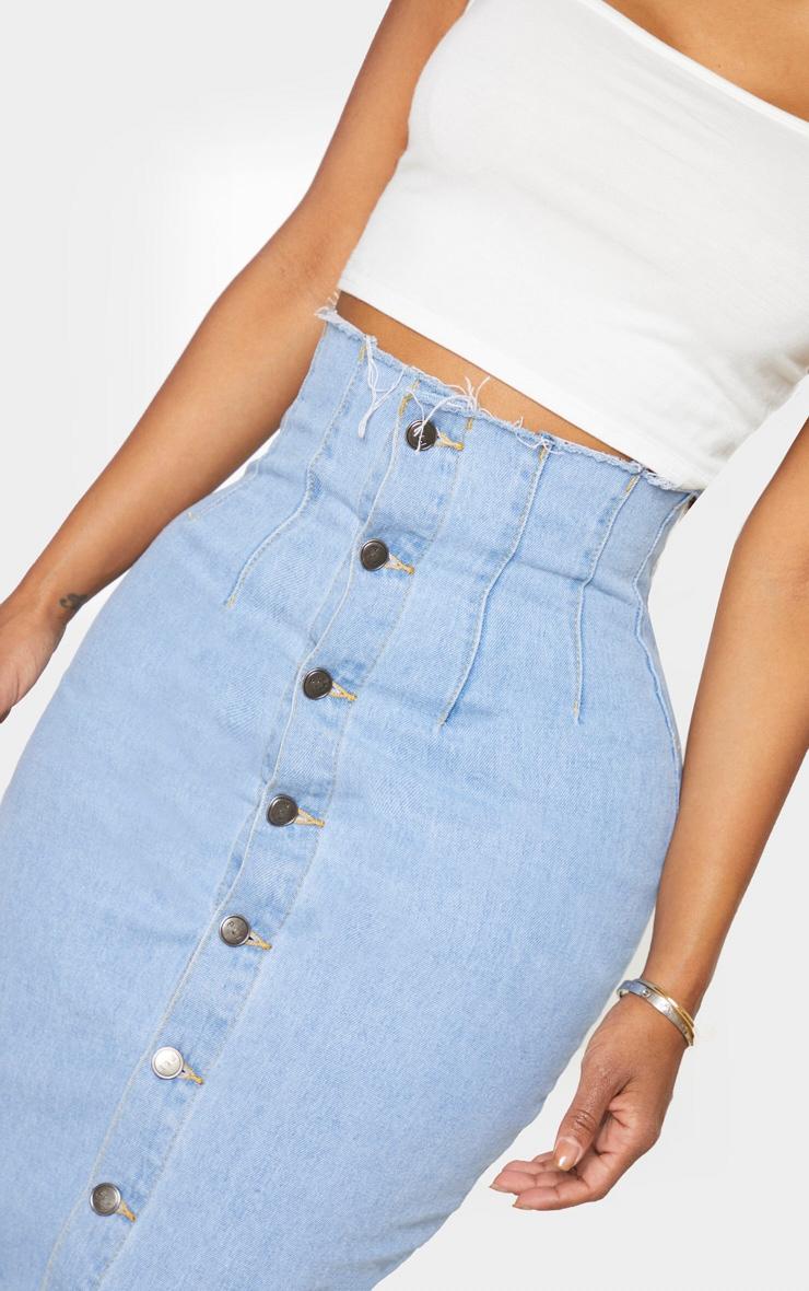 Shape - Jupe en jean très délavé mi-longue boutonnée à détail coutures 4