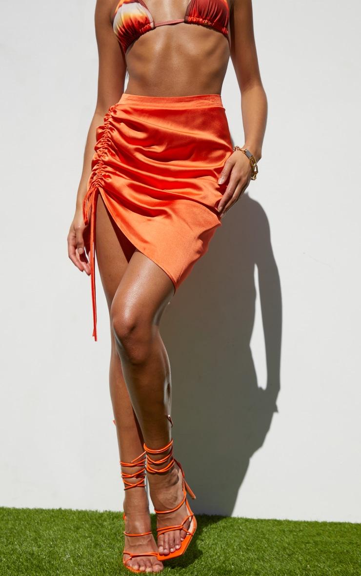 Orange Ruched Front Mini Skirt 2