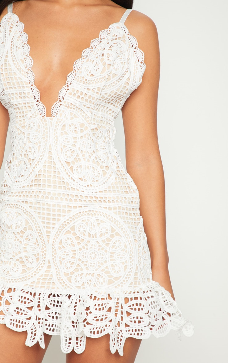 White Strappy Thick Lace Frill Hem Bodycon Dress 5