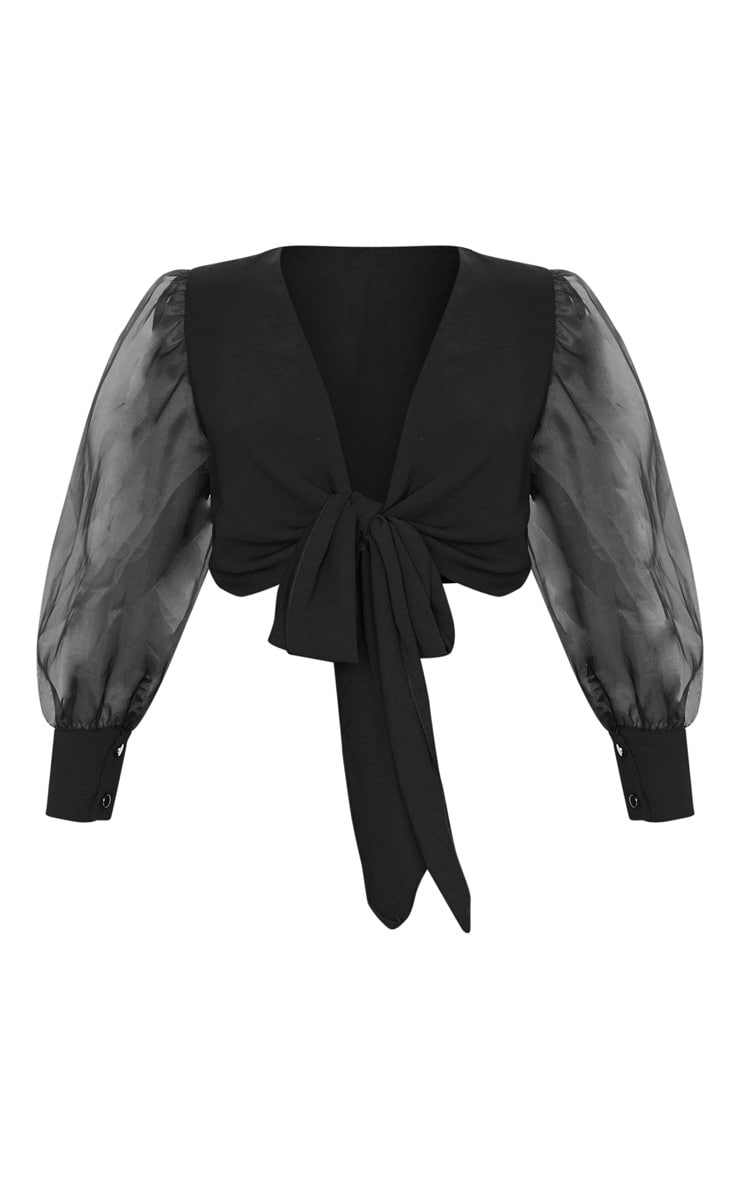 Black Sheer Puff Sleeve Tie Front Shirt 3