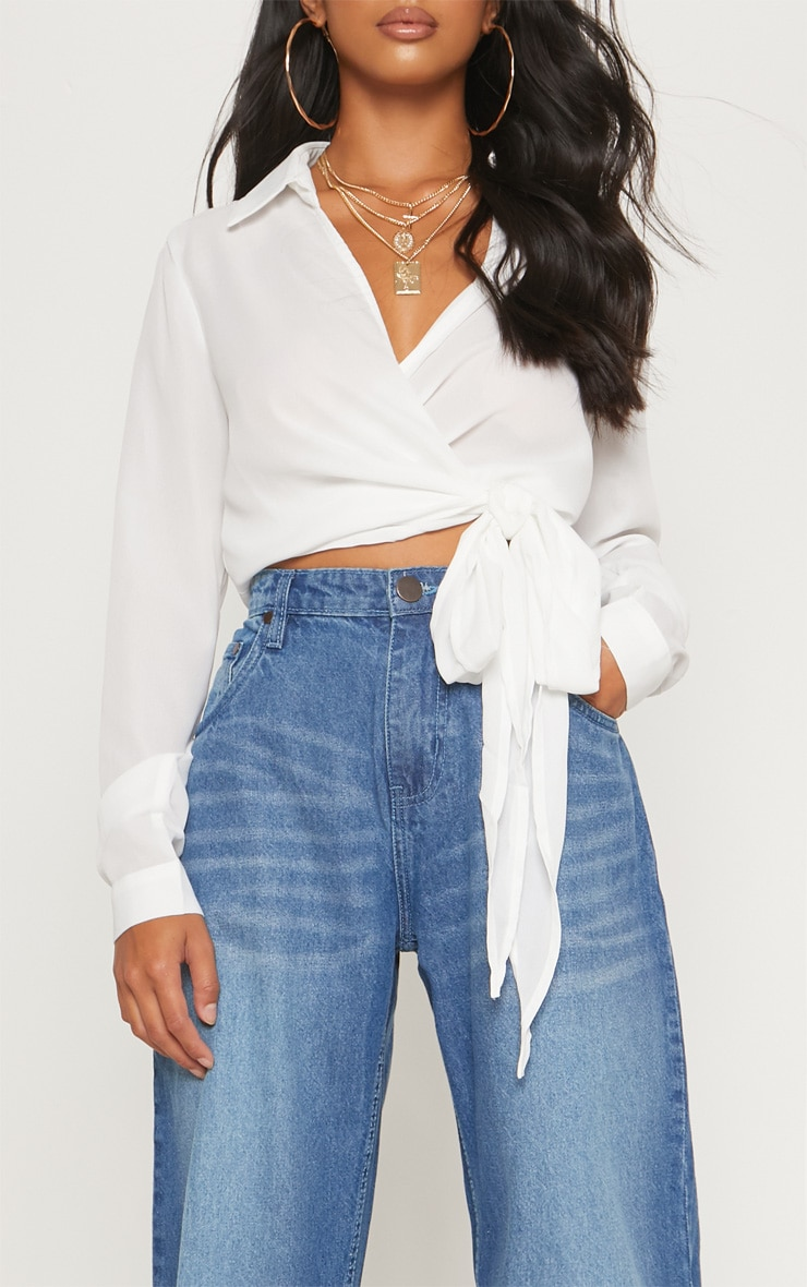 Petite Mid Wash Extreme Wide Leg Jean 5