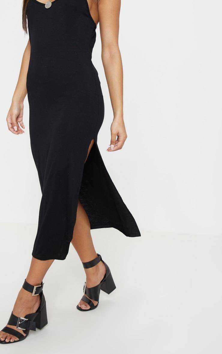 فستان متوسط الطول بفتحة على الساق من الجيرسيه بلون أسود 5