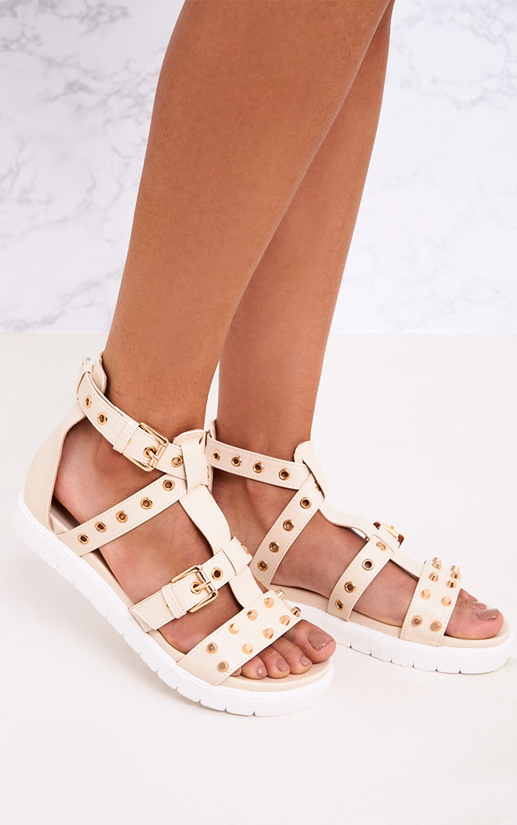 Clarice Nude Studded Gladiator Sandals 1