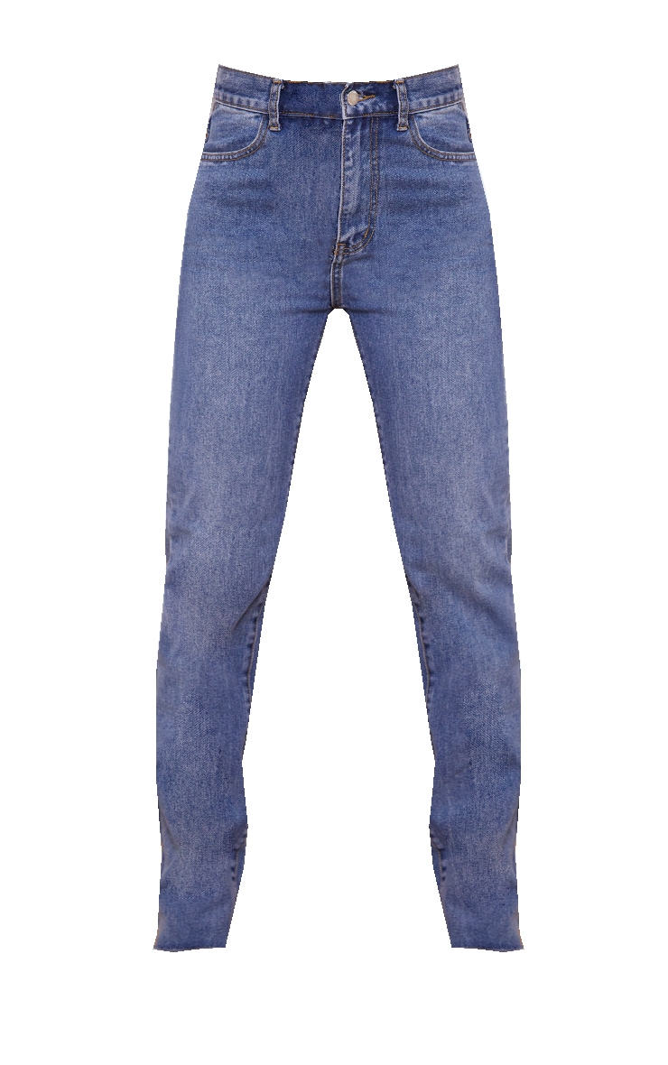 Mid Blue Wash Long Straight Leg Raw Hem Jeans 5