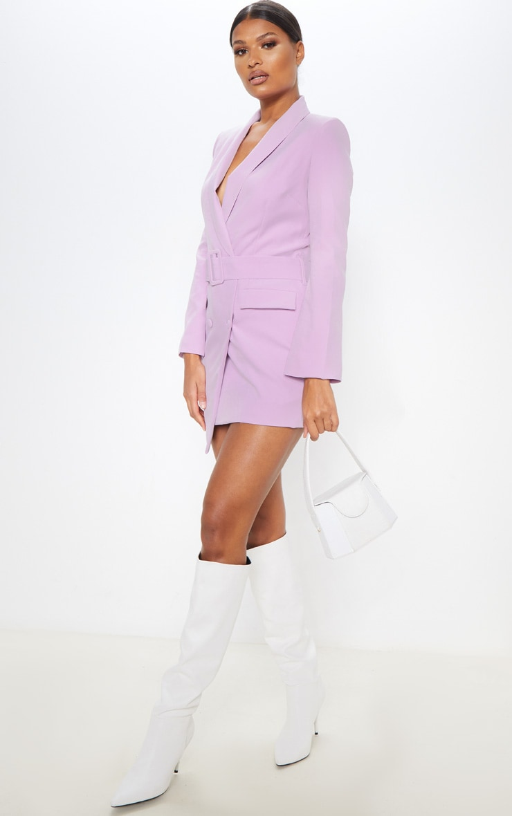 Dusty Lilac Belt Blazer Dress 4