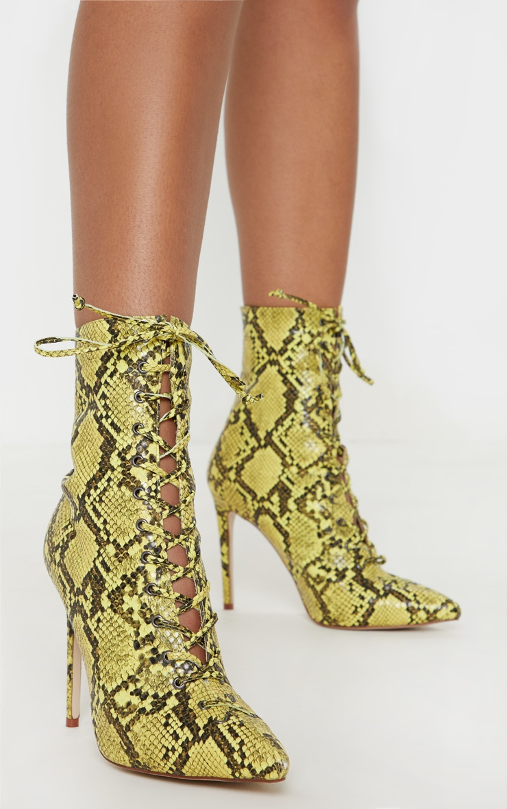 Lime Snake Lace Up High Point Ankle Boot 1