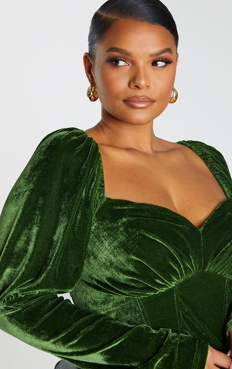 Plus Emerald Velvet Puff Sleeve Corset Top 4