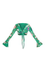 9f1f01a878d Green Slinky Floral Tie Front Crop Top   PrettyLittleThing