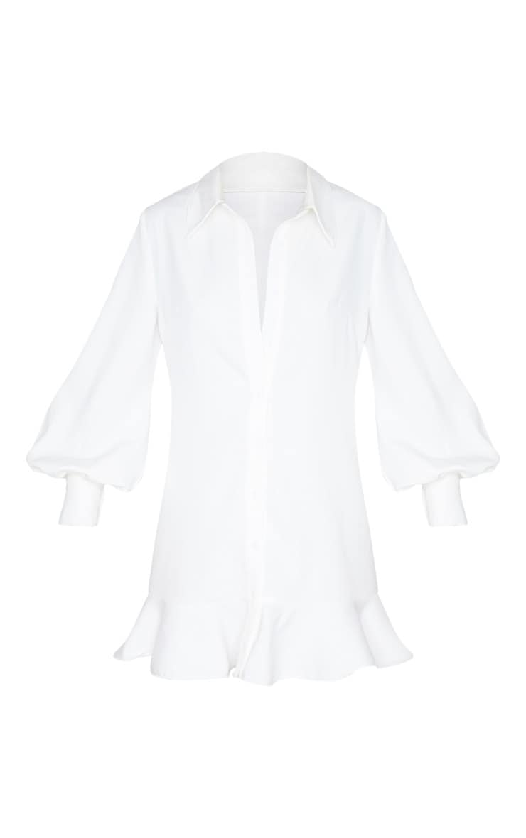 White Frill Hem Shirt Dress 6