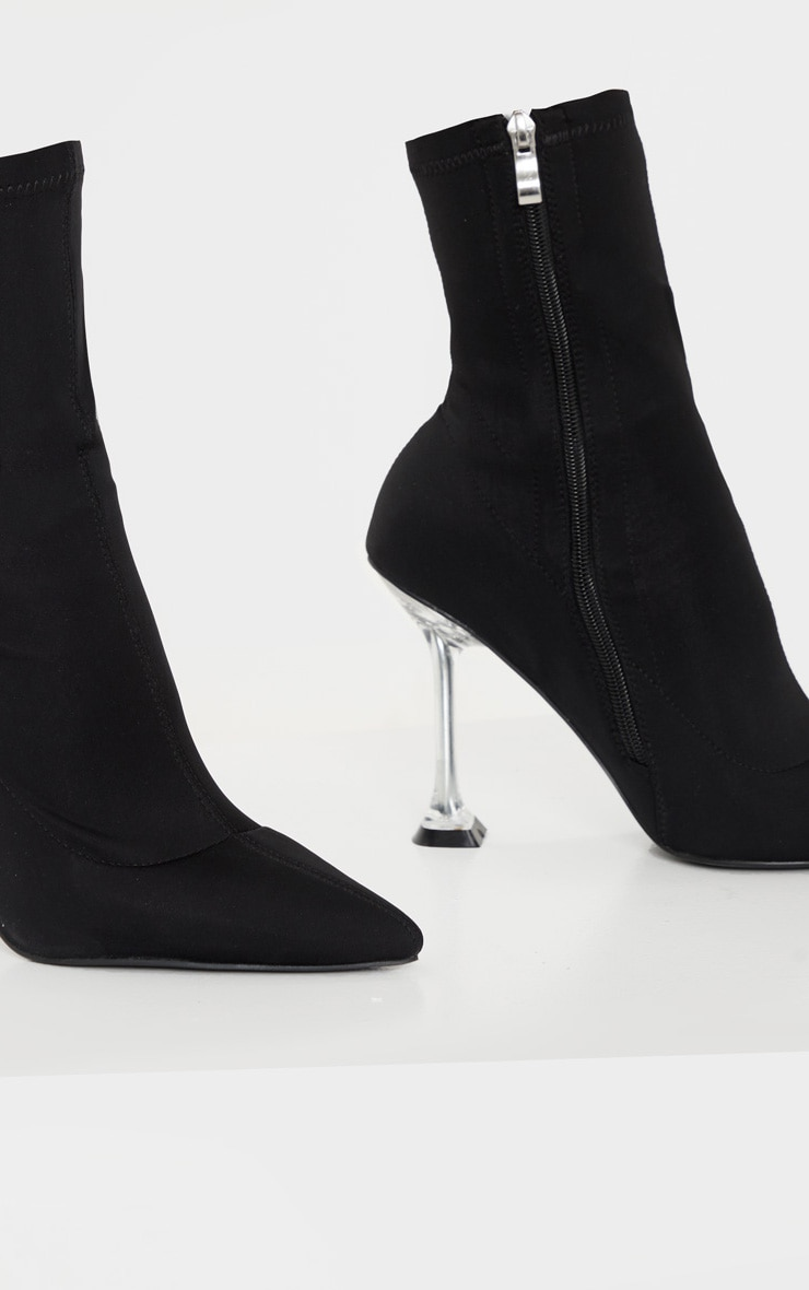 Black Cake Stand Clear Heel Sock Boot 4