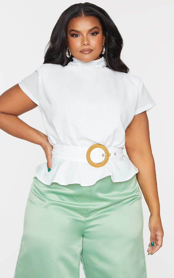 Plus White Satin Sleeveless Shoulder Pad Belted Top 1