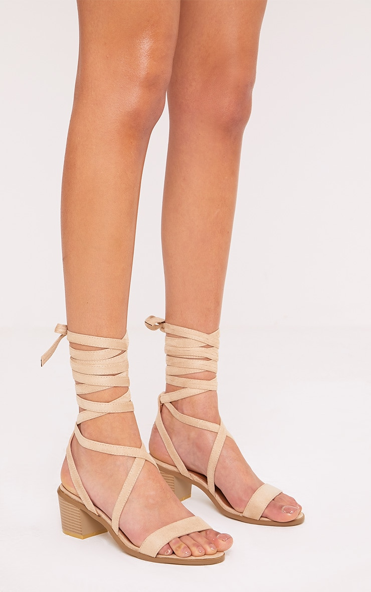 Kallia Cream Suede Lace Up Heeled Sandals 3