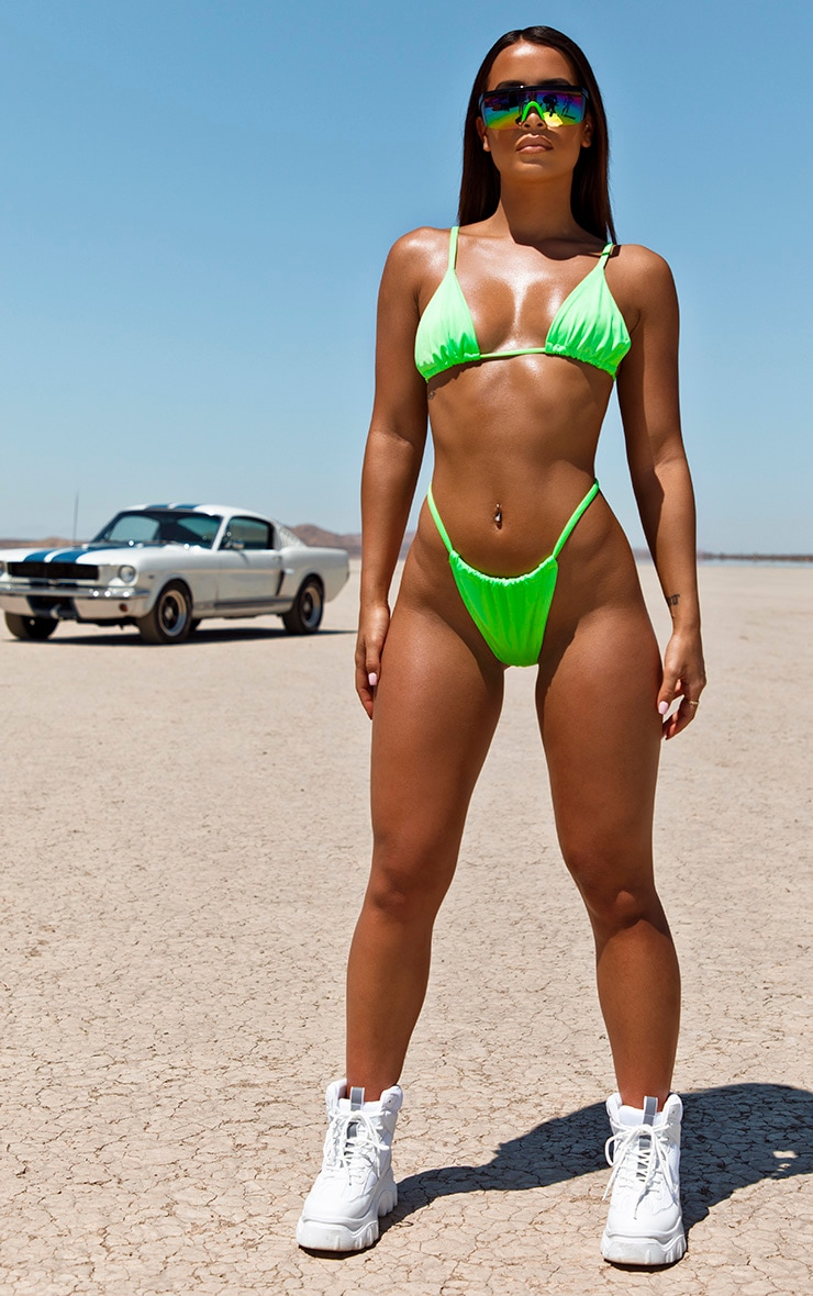 Neon Green Tanga Adjustable Bikini Bottom 5